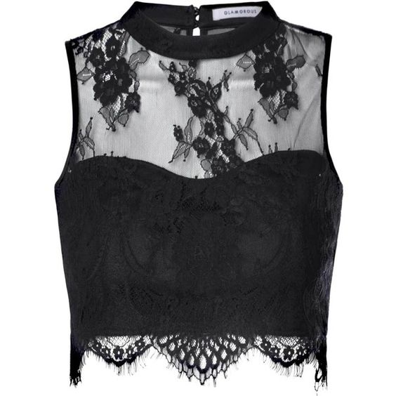 Black Sheer Lace Scallop Hem Crop Top ($32) ❤ liked on Polyvore featuring tops, shirts, crop top, black, black crop top, high neck top, eyelet top, grommet top and scalloped crop top