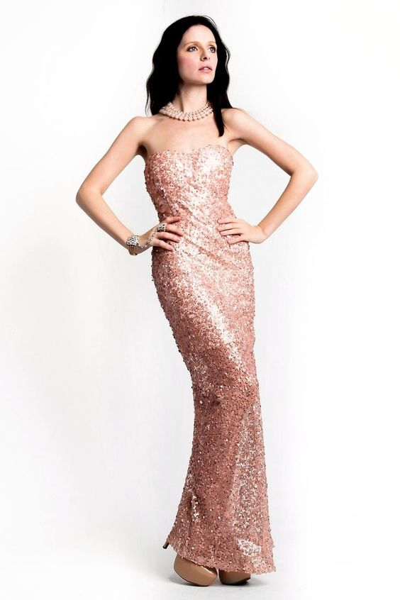 Rose Gold Strapless Sequin Maxi Dress -gown -nye -nyedress ...