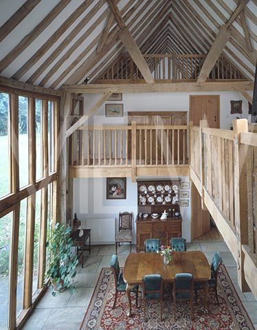 Barn Conversion Interior View From Second Level Looking