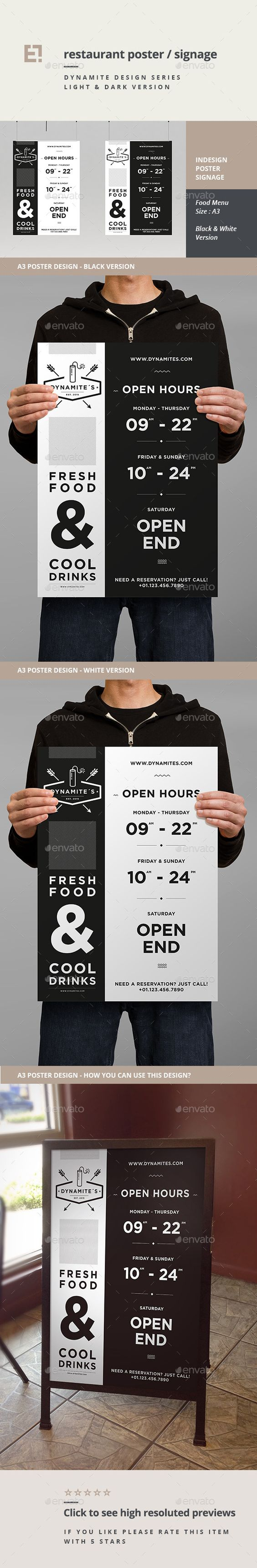 Poster design in indesign - Restaurant Poster 11181480 Indesign Indd Print Dimensions Mb Sale Page More Info And Preview Template Minimal And Professional Poster Design Templates