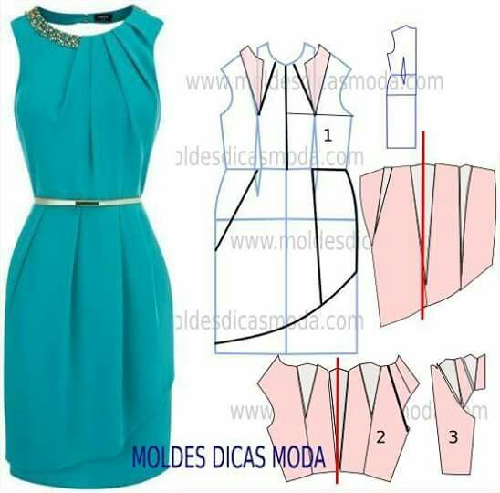 dress patron/ moldes: Dress Patterns, Moldes Para Vestuário, Sewing Pattern, Moldes Vestidos, Molde Vestido