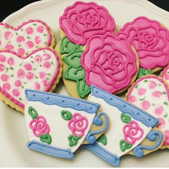 Rose and Teacup Sugar Cookies, Mother's Day Gift, Tea Party Cookies (1 Dozen)