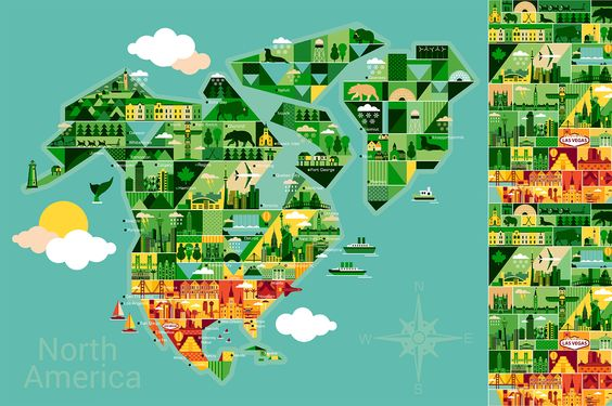 Cartoon map of North America by Moloko88 on @creativemarket