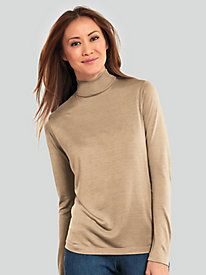 Long Sleeve Mock Neck Top in Mid-Weight Washable Silk