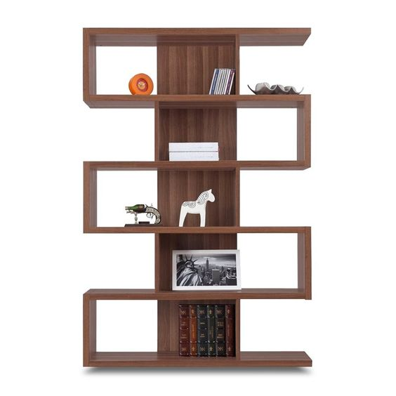 love this modern 62.2 in. Zag Walnut Bookcase at the Foundary