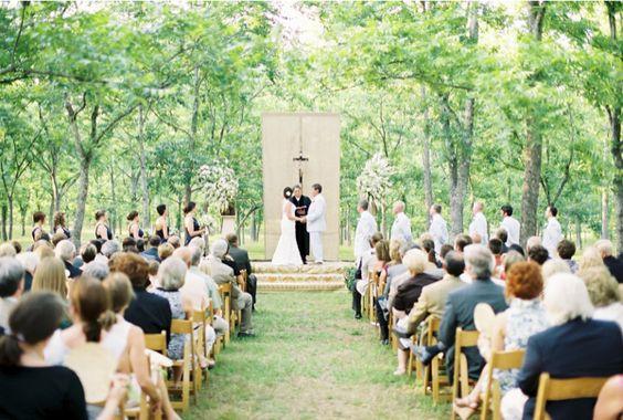 Outdoor altar pecan grove ceremony (Kim Box)
