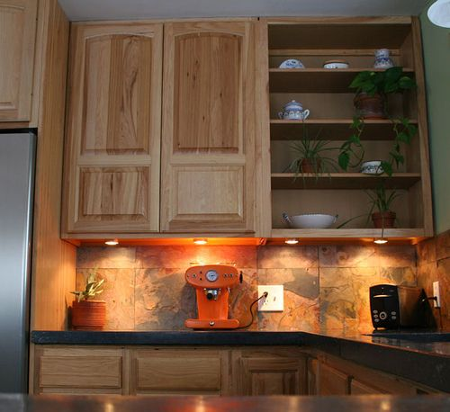 Light Hickory Cabinets Black Countertops