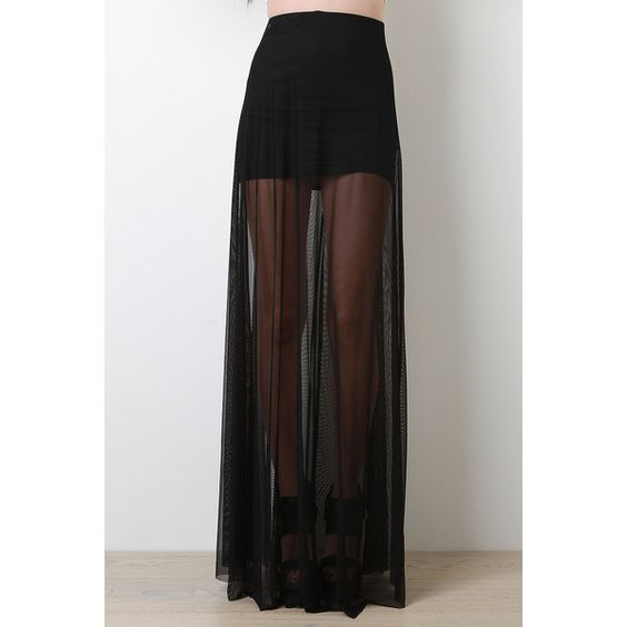 Sheer Mesh Maxi Skirt (£13) ❤ liked on Polyvore featuring skirts, ankle length skirt, elastic waist skirt, floor length skirt, maxi skirt e long skirts