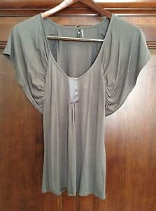 7 For All Mankind Size Small Charcoal Grey Cotton Top Blouse, Gray, S