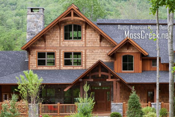 Mountain timber frame home in the heart for Rustic board and batten homes