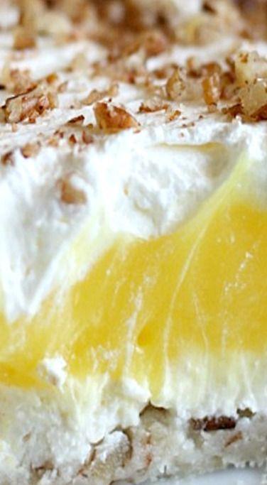 Luscious Lemon Delight - cool, creamy, and lemony - an easy to make layered dessert ❊