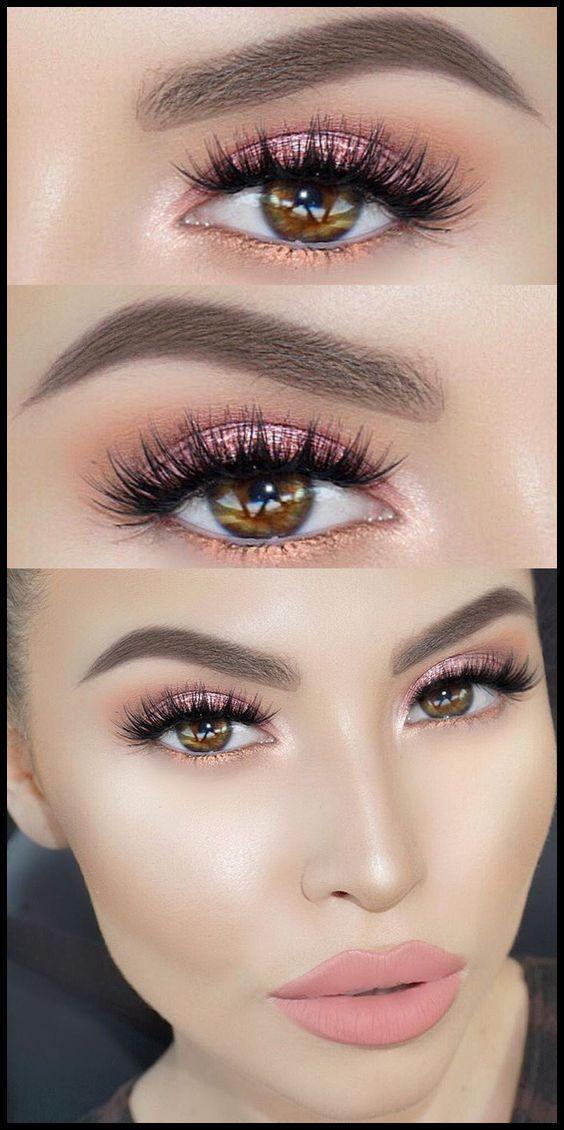 The Best Spring Makeup Ideas 2019 Glitter Eye Makeup Peach