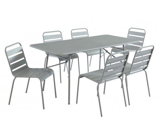 Garten Esstisch L 160 Cm Mirmande 6 Stuhle Grau Kaufen Esstisch Tisch Stuhle