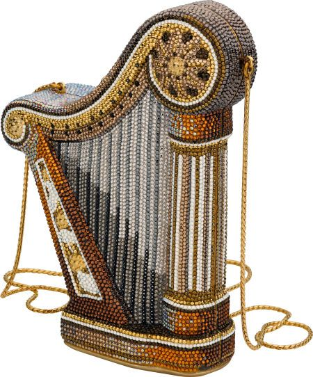 "Austrian Crystal, Yellow Metal, ""Harp"" Evening Bag, by Judith Leiber:"
