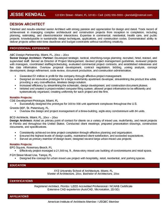 Design Architect Resume Template - http\/\/jobresumesample\/620 - sample zoning manager resume