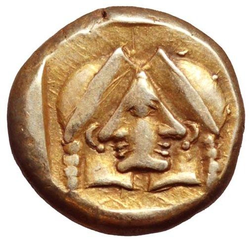 Early & Rare Example of Paradoxical Illusion This very rare electrum hekte (only 8 known examples) is from the ancient city of Mytilene on the island of Lesbos, circa 454-427 BC. On the obverse is the head of Athena wearing a crested Corinthian...