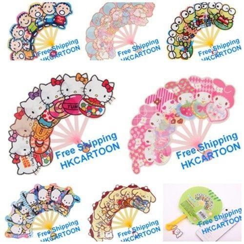 Sanrio Hello Kitty Mina No Tabo My Melody Pochacco Pom Pom Purin PP Folding Fan | eBay