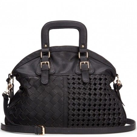 Sole Society | Black Oversize Woven Satchel | Florence | The cobalt and tan are beautiful