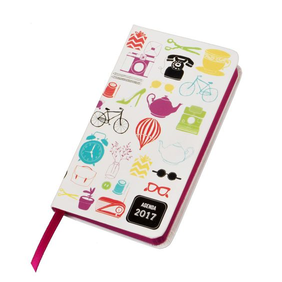 Agenda pequeña con tapa dura y diseño impreso, calendario y planificador.