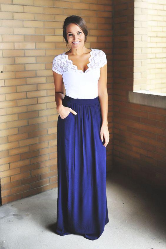 Navy Maxi Skirt - Dottie Couture Boutique