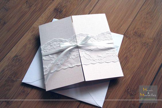Carte félicitation mariage crème et dentelle