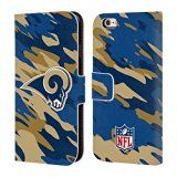 Official NFL Camou Los Angeles Rams Logo Leather Book Wallet Case Cover For Apple iPhone 6 / 6s