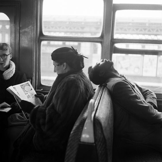 Harold Feinstein, Passengers Sleeping & Reading on NYC Subway, 1949 - Courtesy the Artist and Panopticon Gallery