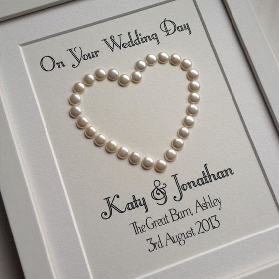 Good Wedding Gift Card : Day Gift Personalised Pearl Heart on cream card - great wedding gift ...