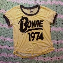 L Women's David Bowie T shirt for sale vintage rock glam grunge punk rip ziggy stardust 70's nostalgia starman