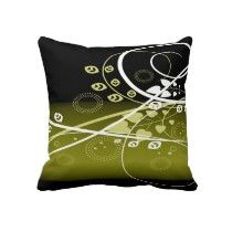 Gold, white and black throw pillow