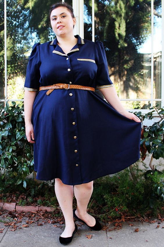 Plus Size - Vintage Military Style Navy Shirt Dress (Size 20/22 ...