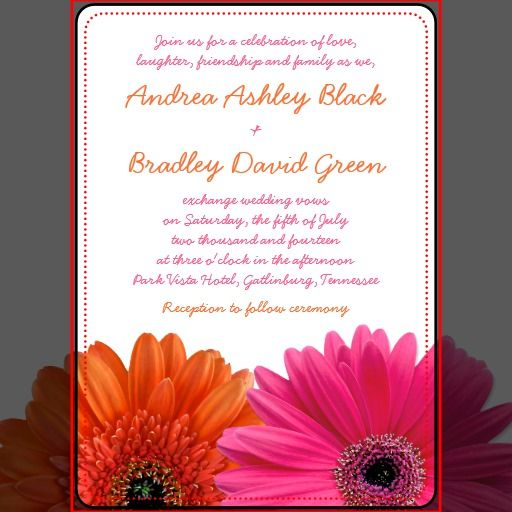 Orange Pink Gerbera Daisy Wedding Invitation Zazzle Com Daisy Wedding Invitations Gerbera Daisy Wedding Daisy Wedding