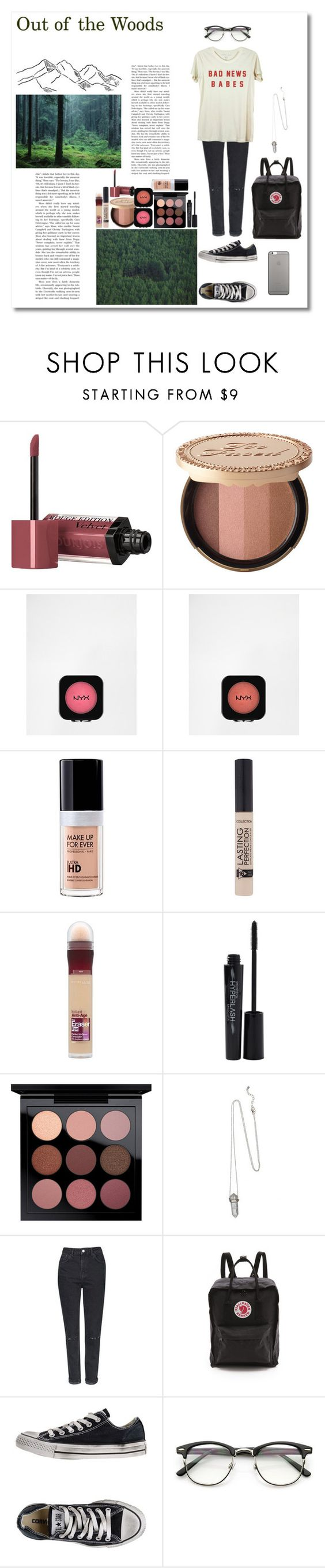 """Out of the Woods"" by silly-stegosaurus ❤ liked on Polyvore featuring Bourjois, Too Faced Cosmetics, NYX, MAKE UP FOR EVER, Maybelline, Smashbox, MAC Cosmetics, Topshop, Fjällräven and Converse"