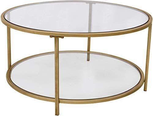 New Ravenna Home Parker Round Shelf Storage Coffee Table 31 5 W