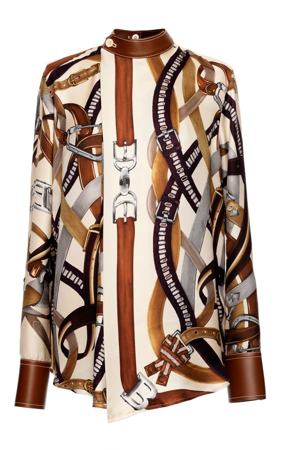 Silk Print Top In Multi Tabacco by Bally for Preorder on Moda Operandi