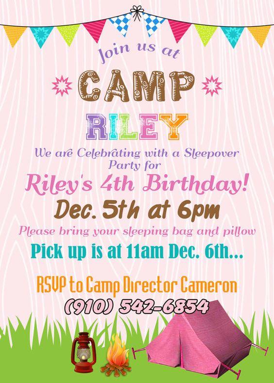 Girl Sleepover Birthday Party Invitation Thank by ThePartyPosse