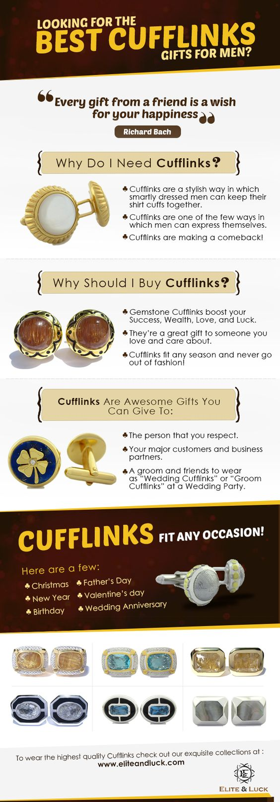 Looking for the best cufflinks gifts for men? By Elite & Luck Cufflinks. #Cufflinks #Gemstone #Luxury #Infographics #Infographic #Infograph