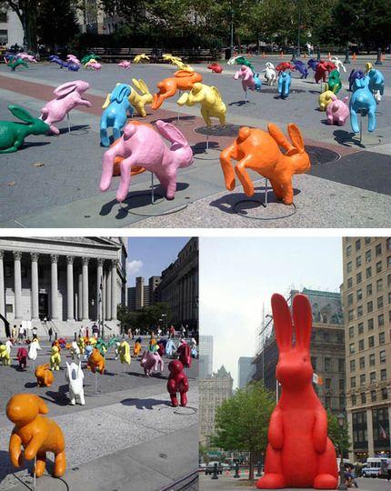"Would be fun to see mosaic jumping fish! Public Art - ""Play-Doh"" Bunnies, Sonia Bravia"