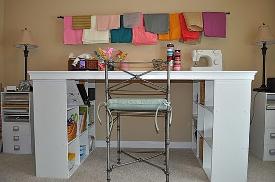 Tons of ideas for craft rooms if you are lucky enough to have your own creative space.  I love this home made desk!