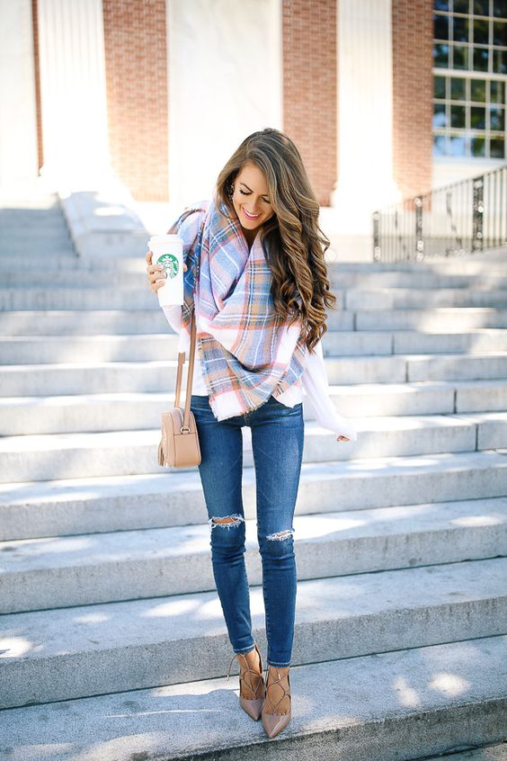 Southern Curls & Pearls: An Unexpected Way to Wear a Blanket Scarf
