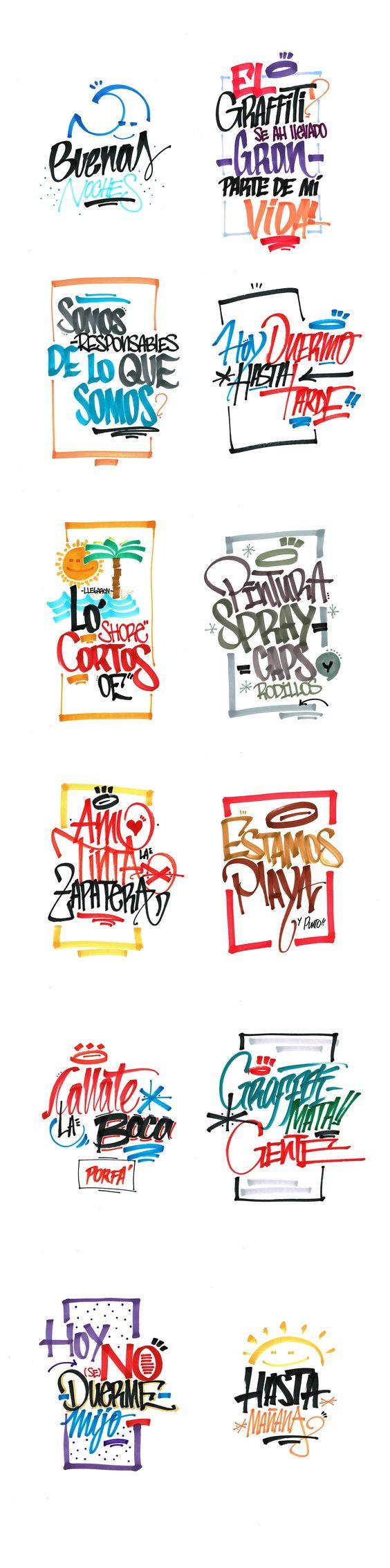 Serie de lettering al azar con gestualidad del Graffiti.