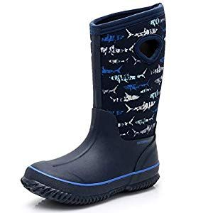 factory outlet buying now more photos SOLARRAIN Boys' Neoprene Rubber Waterproof Sharks Snow Boots for ...
