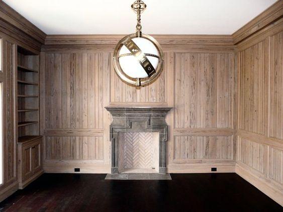 Limestone & Boxwoods - Perfect English - Benecki Fine Homes - wood paneled library, Visual Comfort zodiac pendant light