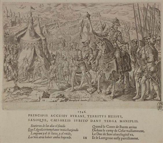 """Karl V. besucht seine Truppen vor Ingolstadt, Blatt 9 aus der Folge """"Die zwölf Siege Karls V."""""""