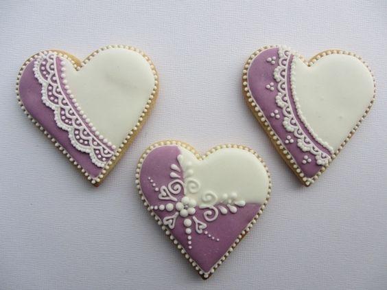 czech cookies.  Decorated cookies.  Heart.  Pretty.  Purple, lavendar, white.  Lace