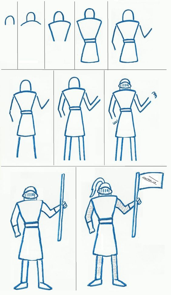Step by step drawing of a knight for a child to do, mums too.