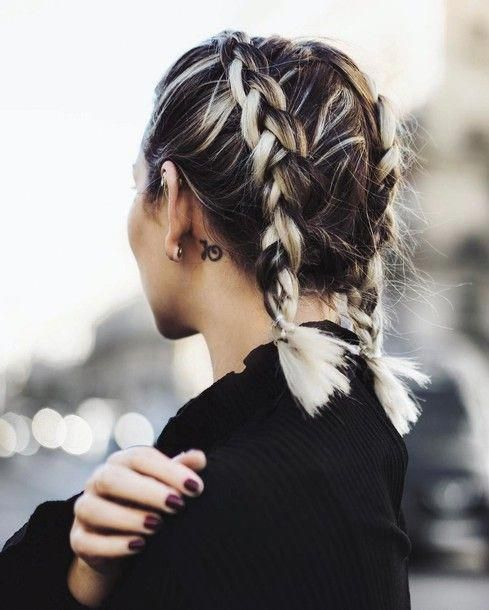 Short Hairstyles Braids For Short Hair Icy Blonde Pigtails Double Dutch Braids Tumblr Braids Hairsty Hair Styles Medium Hair Styles Braids For Short Hair