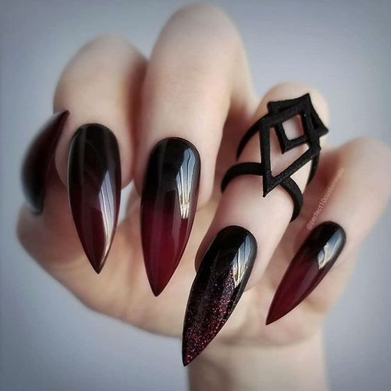 Ombre Black Red Nails