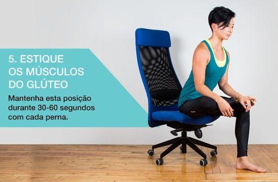 Para realizar este exercício, sente na ponta de uma cadeira. Dobre as pernas formando um ângulo reto. Em seguida, dobre uma perna sobre o joelho da outra perna. Incline o corpo para frente, levando os ombros no nível dos joelhos. Repita o processo com a outra perna.