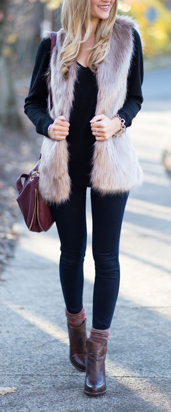 trendy winter brown camel faux fur vest glit. Paired it with black leggings and ankle boots for a chic casual look. featured by blondeexpeditions   chicwish.com: